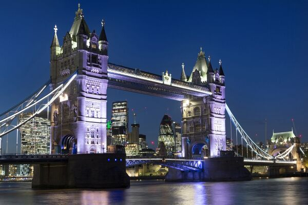 Tower Bridge illuminated at night, London, England, United Kingdom, Europe