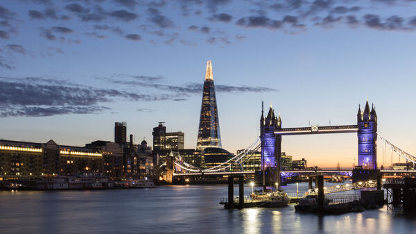 Tower Bridge and The Shard at sunset, taken from Wapping, London, England, United Kingdom, Europe
