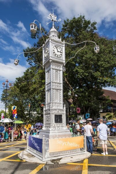 The Victoria Clocktower in downtown Victoria, Mahe, Republic of Seychelles, Indian Ocean, Africa