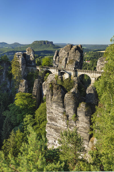 View from Bastei Bridge to Lilienstein Mountain, Elbsandstein Mountains, Saxony, Germany, Europe