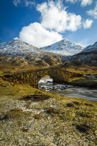 View of mountains and Cattle Bridge in winter, in the Argyll Forest and National Park, Highlands, Scotland, United Kingdom, Europe