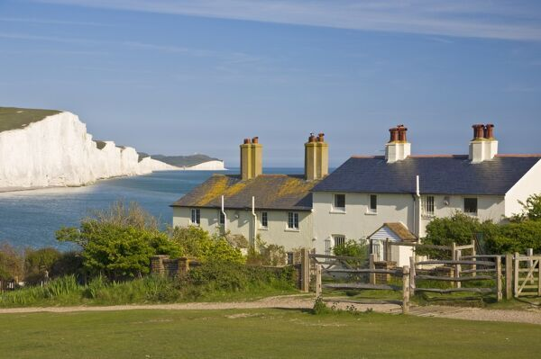 View of The Seven Sisters cliffs, the coastguard cottages on Seaford Head