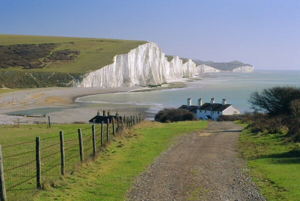 View to the Seven Sisters from Seaford Head, East Sussex, England, UK