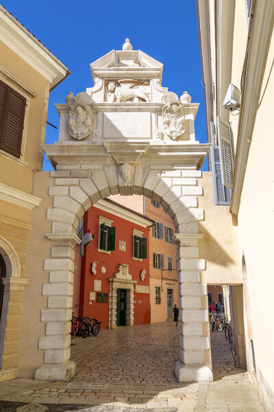 View of Venetian Balbi Gate in the Old Town of Rovinj, Croatian Adriatic Sea, Istria