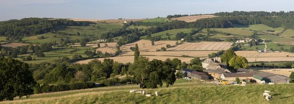 View over Wadfield farm and Cotswold farmland in summer, Winchcombe, Cotswolds, Gloucestershire, England, United Kingdom, Europe