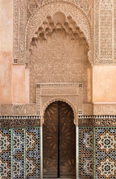 Wall of Ben Youssef Madrasa (ancient Islamic college), UNESCO World Heritage Site, Marrakech, Morocco, North Africa, Africa