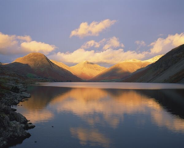 Wasdale Head and Great Gable reflected in Wastwater, Lake District National Park, Cumbria, England, United Kingdom, Europe