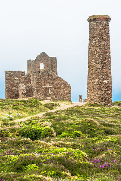 Wheal Coates Tin Mine on a foggy day, UNESCO World Heritage Site, on the Cornish coast