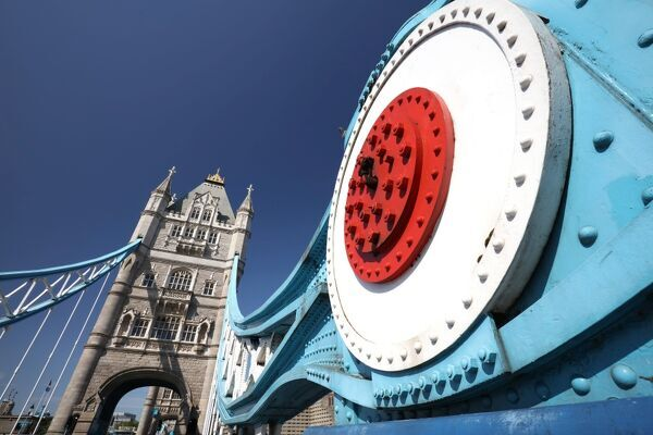 Wide angle view of Tower Bridge against blue sky, London, England, United Kingdom, Europe