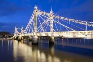 albert bridge river thames night chelsea london