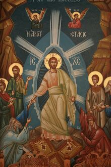 Greek Orthodox icon of Christ's resurrection, Thessalonica, Macedonia, Greece, Europe