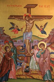 Greek Orthodox icon depicting Jesus' crucifixion, Thessalonica, Macedonia
