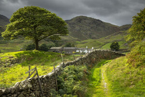 idyllic farm countryside view dry stone wall langdale