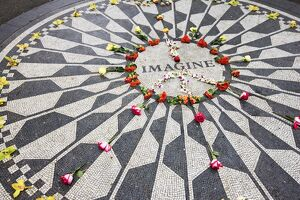 The Imagine Mosaic memorial to John Lennon who lived nearby at the Dakota Building