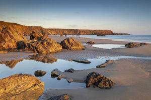 late evening sunlight deserted marloes sands