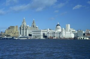 liverpool skyline mersey river england united
