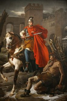 Painting of St. Martin sharing his coat, St. Gatien Cathedral, Tours, Indre-et-Loire