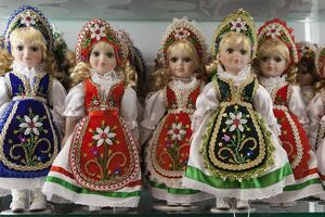 Souvenir dolls in traditional Hungarian costumes, Budapest, Hungary, Europe