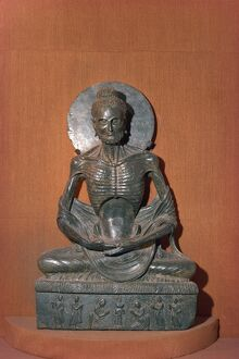 Statue of the fasting or emaciated Buddha in the Museum at Lahore
