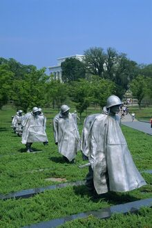 Statues of soldiers at the Korean War Memorial in Washington D
