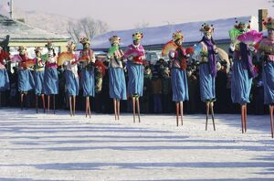Stilt dancers, New Year celebrations, China, Asia
