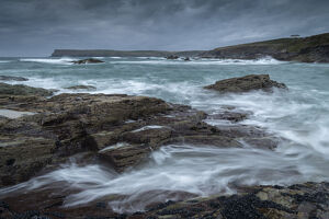 stormy seas looking pentire point padstow cornwall