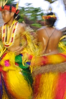 Yapese dancers performing traditional bamboo stick dance, Yap, Micronesia, Pacific